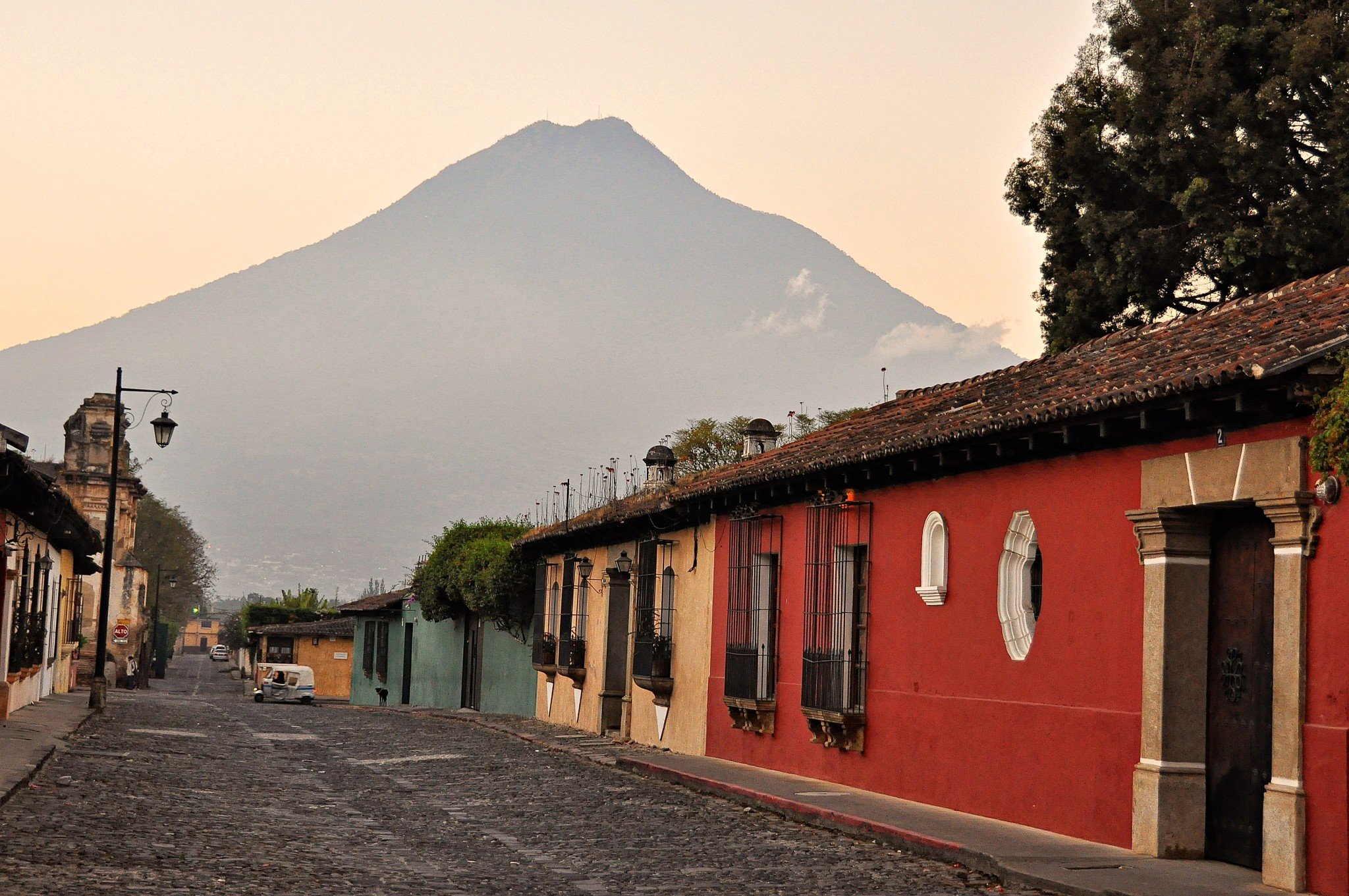 Agua volcano from the cobbled streets of Antigua, Guatemala