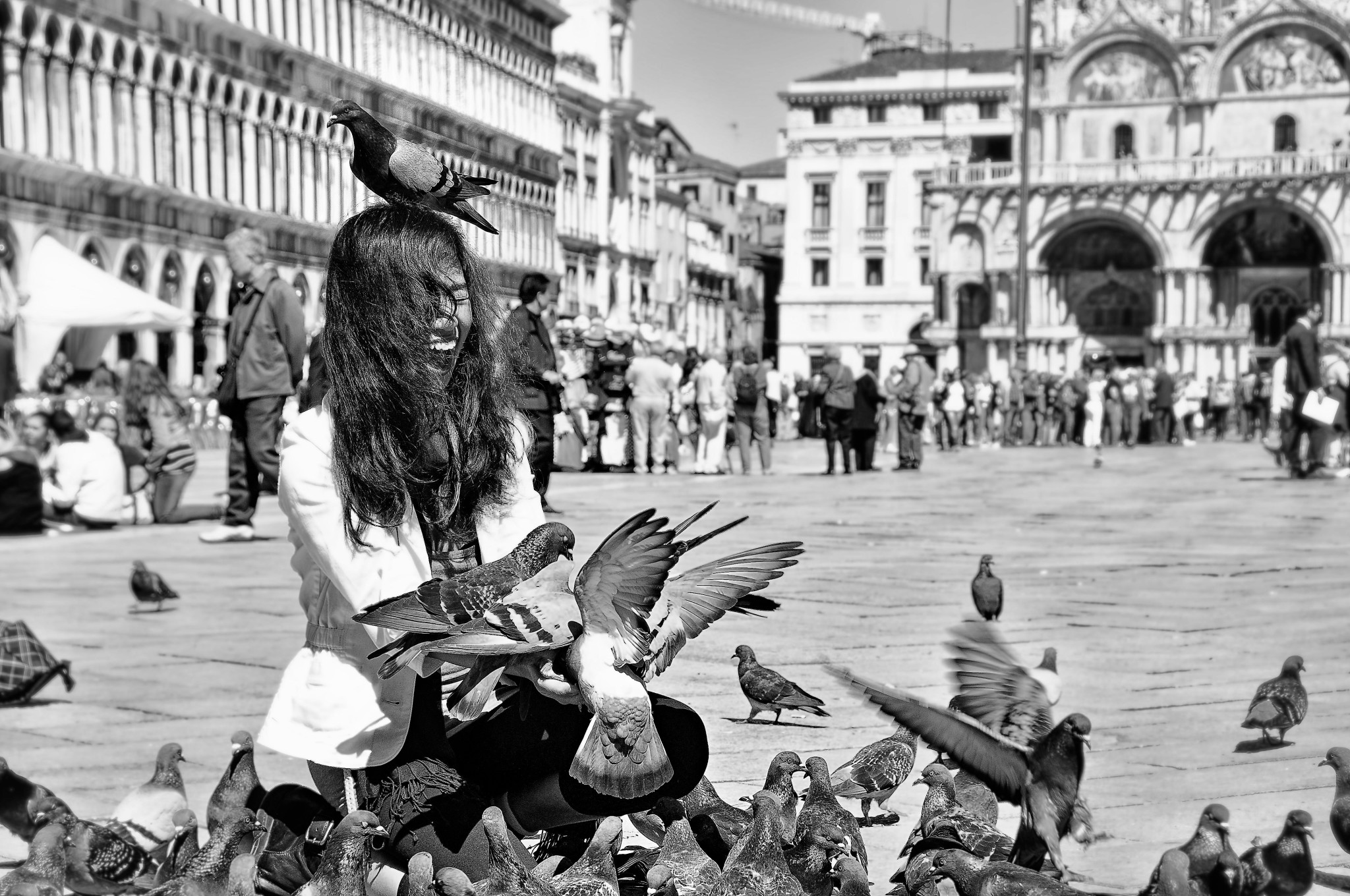feeding the pigeons in Piazza San Marco in Venice