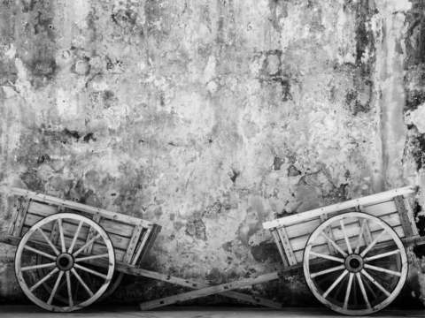 Wooden carts at the Castillo San Felipe del Morro fort in Puerto Rico