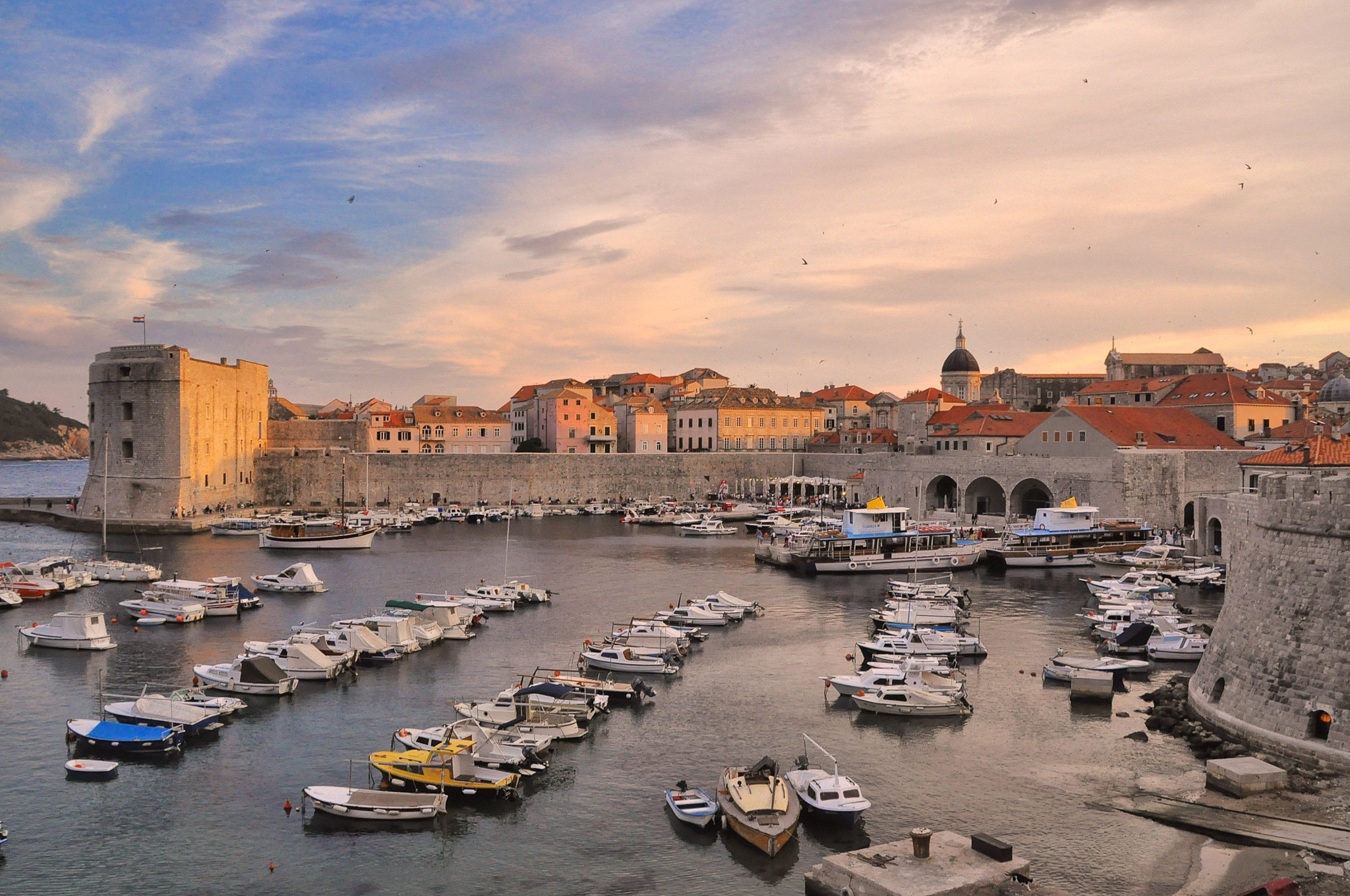 City harbor and St John's Fortress in Dubrovnik Croatia
