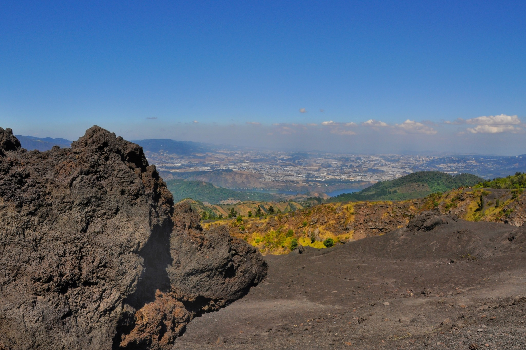 View of Guatemala city atop Pacaya volcano