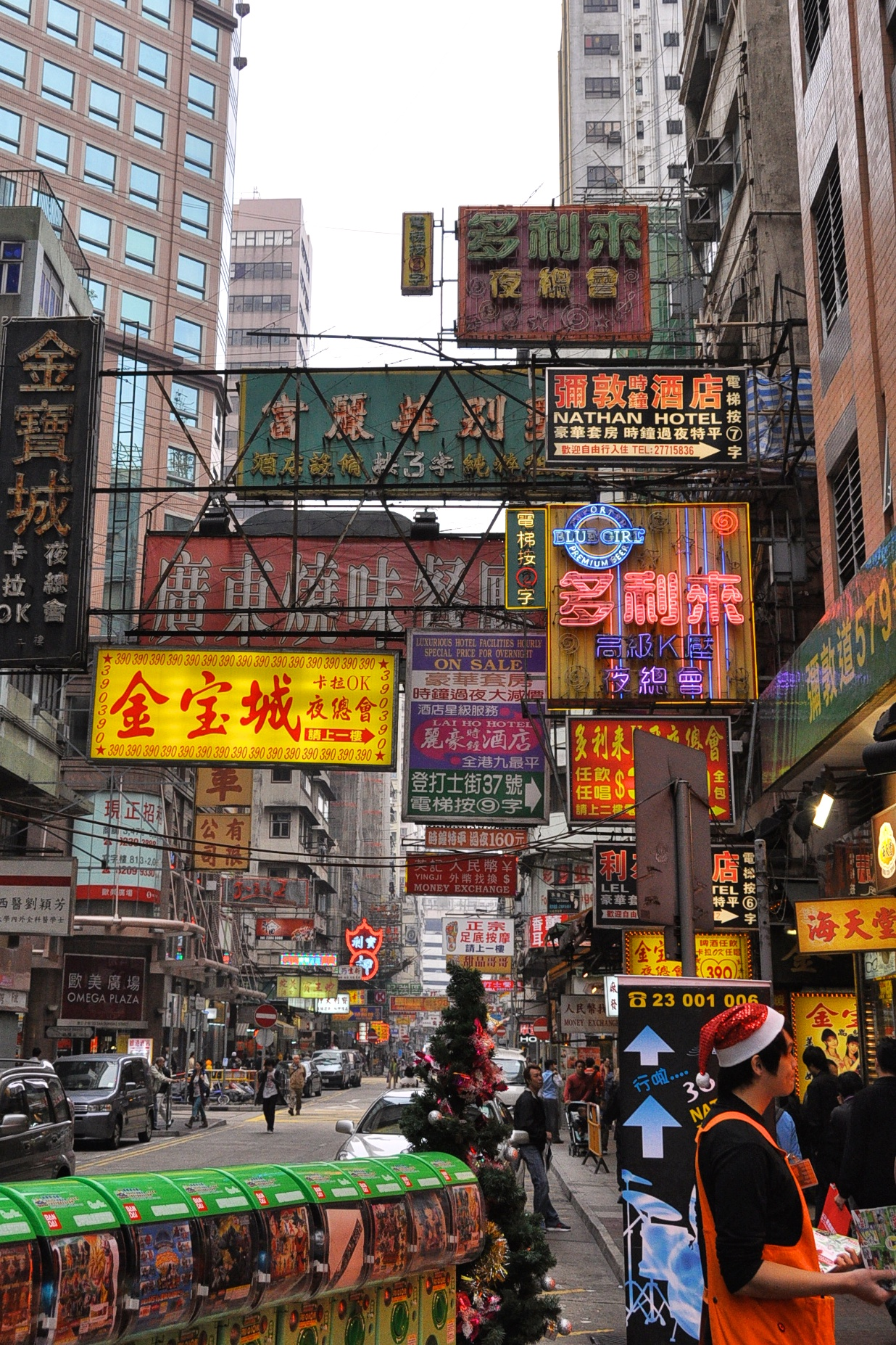 Colorful neon lights and signs of Hong Kong