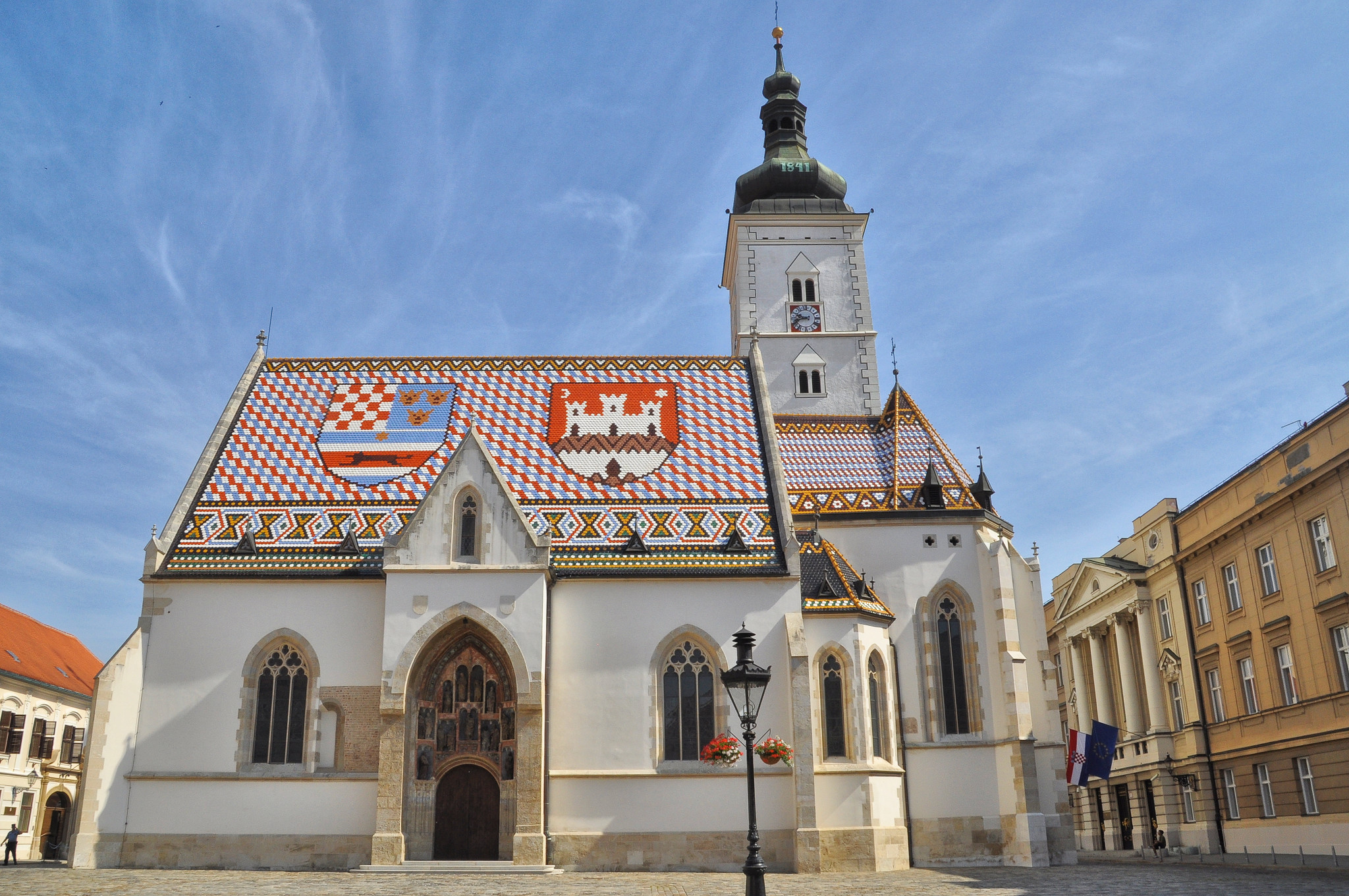 St Mark's Church with its unique colorful roof tiles rendering the coat of arms of Zagreb Croatia