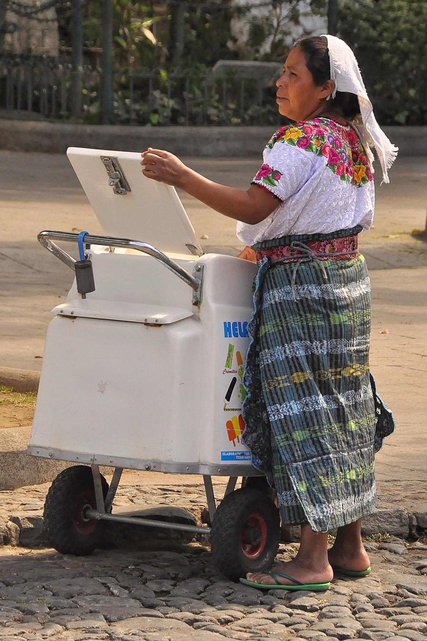ice cream lady at parque central, Antigua, Guatemala