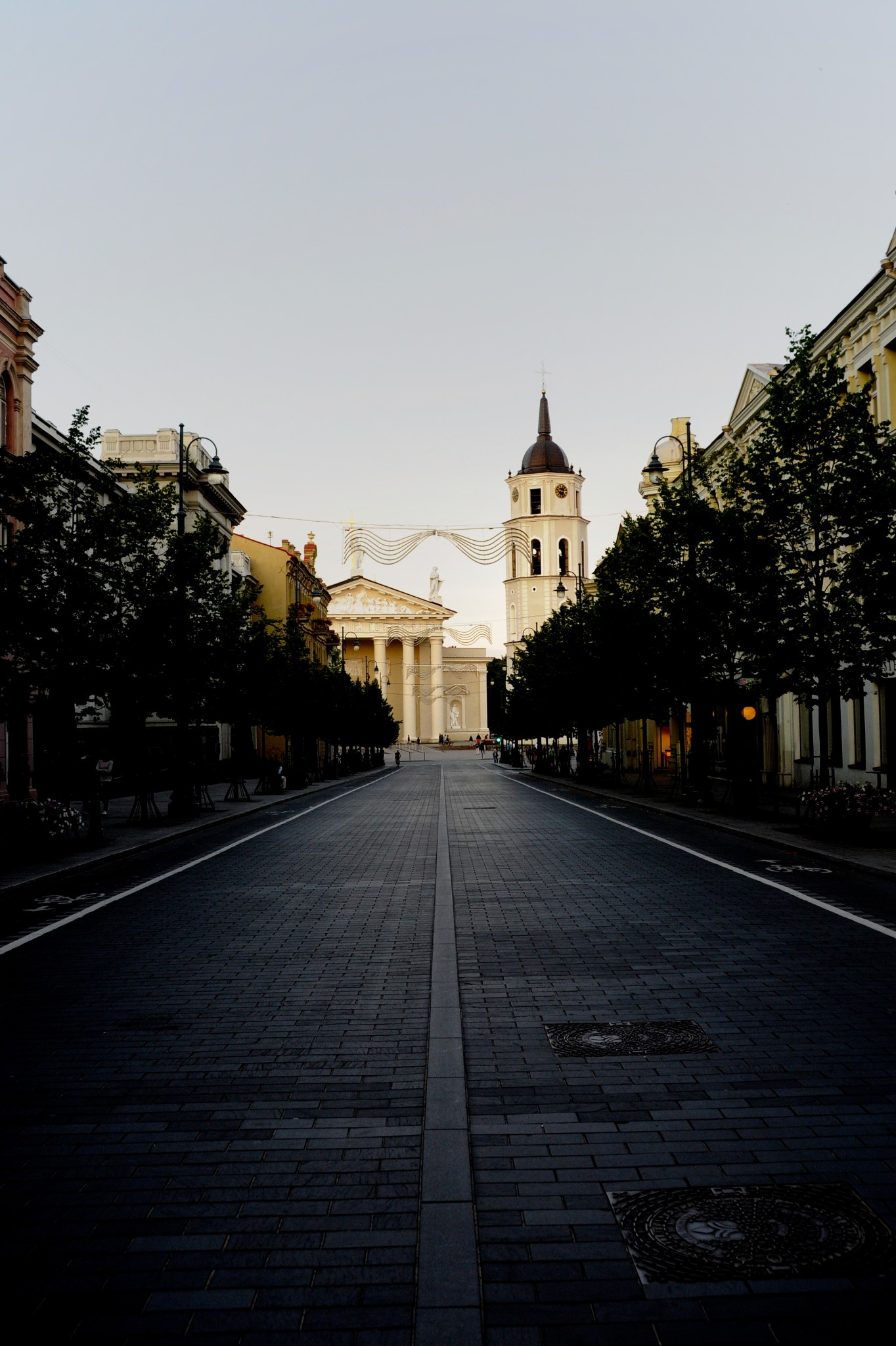 Road leading to Cathedral Square in Vilnius, Lithuania