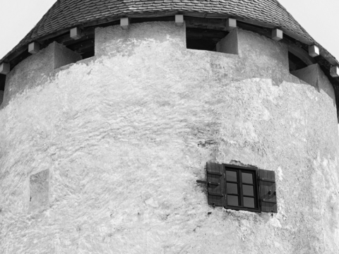 Bled Castle tower in Lake Bled, Slovenia