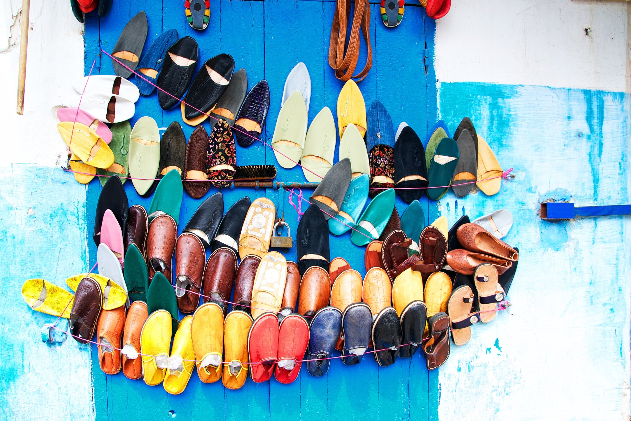 Handmade leather babouche slippers of Morocco