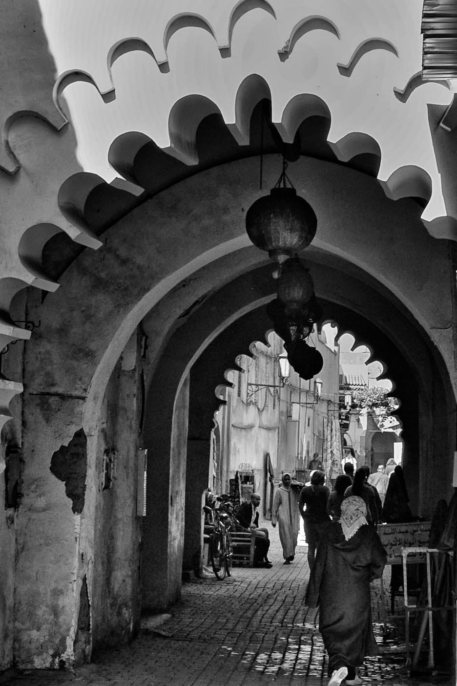 Ancient arches and alleyway in Fez, Morocco
